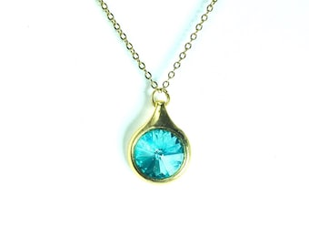 Swarovskil Turquoise Crystal Necklace Gold Necklace Turquoise Pendant Necklace Turquoise Crystal Necklace  CLEARANCE