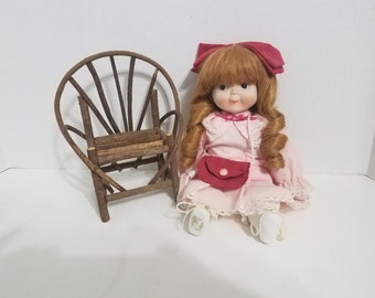 LAST CHANCE - Vintage Doll in chair