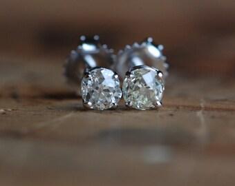 Antique Old Mine Cut diamond studs ∙ old mine cut diamond post earrings