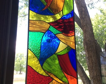 STAINED GLASS multi colored window - Contemporary burst of color
