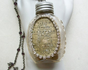 Medicine Bottles Assemblage/Rhinestone jewelry/Assemblage Necklace/Statement Necklace/Vintage Bottles/Christmas jewelry/antique bottles