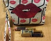 LipSense distributors wristlet bag, purse, pouch, case, white, pink lips,  holds  24 lipsticks and additional supplies