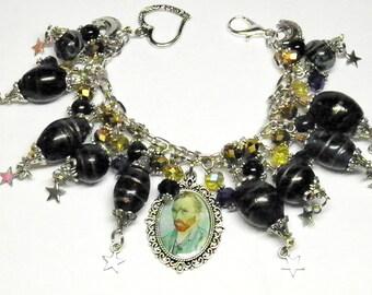 Van Gogh Jewelry, Starry Night Jewelry, Van Gogh Bracelet, Artisan Lampwork Beads, Vincent Van Gogh Art, Steampunk Jewelry, OOAK Bracelet #3