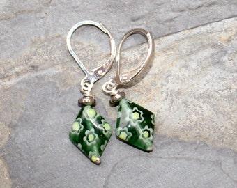 Green Earrings, Millefiori Earrings, Venetian Glass Earrings, Green Flower Earrings, Wire Wrapped Earring, Bohemian Earring, Diamond Earring