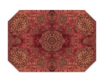 Bohemian placemat, red placemat, boho, printed lace pattern, cloth placemat, washable polyester fabric placemat, table linens
