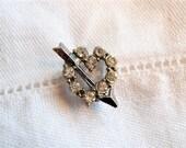 Tiny Vintage Valentine Heart Pin / Rhinestones Silvertone Metal 1940's-50's Cupid's Arrow Lapel Collar Dress Jacket Coat Brooch Retro Bling
