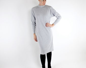 Vintage 80's heather gray t-shirt dress, shoulder pads, high collar, sweatshirt style construction, relaxed fit, small slit in back - Medium