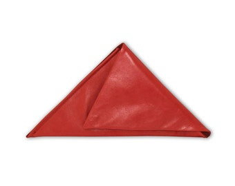 Unique, triangular, leather clutch bag in strawberry red.