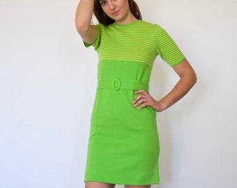 70s Preppy Lime Green Striped Knit Sweater Scooter Mini Dress xs s m