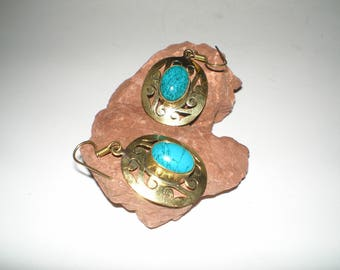 Eilat Turquoise Drop Earrings Ornate Gold Over Sterling Silver Beauties- Vintage Eilat Turquoise Cabs On Shepard Hook Pierced -Gift Boxed