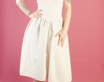Vintage 1980's Ivory Floral Strapless Dress