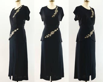 Vintage 1940's Black Rayon Sequined Evening Dress