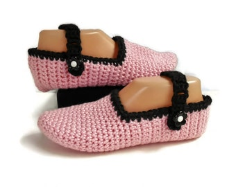 Pink Crochet Slippers, Mary Jane Style With Adjustable Strap, Handmade Knitted Slippers, Gift for Women, Pink and Black Slippers