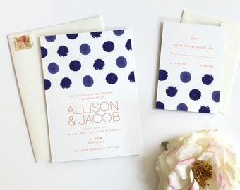 Watercolor Wedding Invitation, Modern Wedding Invitation, Navy Polka Dot - Printed Sample