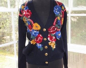 Vintage Floral Navy Sweater Emboridered Cardigan, Small, Medium
