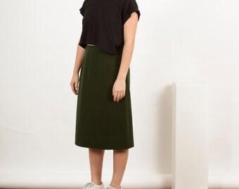 Wool Forest Green Skirt / A-Line Retro Skirt / Vintage High Waisted Skirt