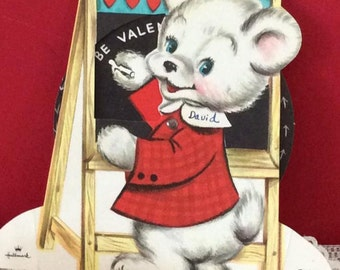 Vintage 1950s Valentine Mechanical (Nephew) Card Bear Writing On A Chalk Board Paw Rotates Collectible Paper Ephemera Art/Craft ScrapBook