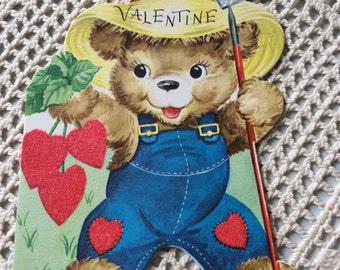 Vintage 1950s Valentine Little Bear Farmer Heart Shape Berries Collectible Paper Ephemera Art Crafts Scrap Booking