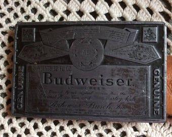 Vintage 1970s 1980s Belt BUDWEISER Buckle Tooled Leather Belt Indian Arts & Crafts Tucson Arizona Thunderbird Design