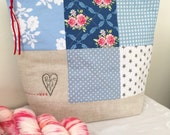 Peace & Love ~ Big project bag in aid of HELP FOR HEROES ..... Blue Patchwork