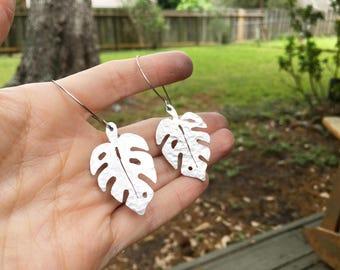 Monstera earrings, metal monstera leaf hoop earrings, leaf earrings, foliage