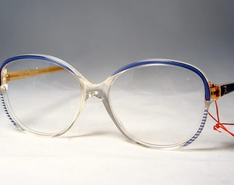 Vintage Blue 1980's Eyeglass Frames, New Old Stock, Paola Belle, France
