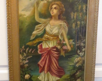 Antique Victorian FRENCH Woman in GARDEN Flowers Original Oil Floral Frame 19C