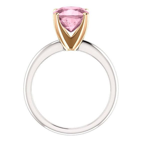 Morganite Two Tone Ring Tiffany Style Mounting 14k