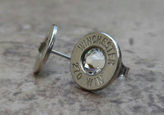 Winchester 270 Win Nickel Bullet Earring, Lightweight Thin Cut, Clear Swarovski Crystal, Surgical Steel Post - 2400