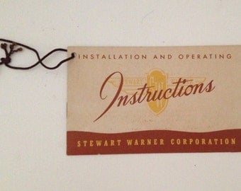 Stewart Warner Radio Instructions Booklet Installation and Operating Manual Book Chicago Illinois IL