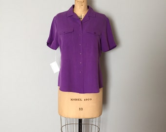 SALE...violet purple silk top | button down silk shirt
