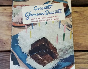 Vintage Cookbook Coconut Glamour Desserts 1949 Baker's Coconut Advertising Booklet 40's Mid Century Baking Recipes Cake Frosting Birthday