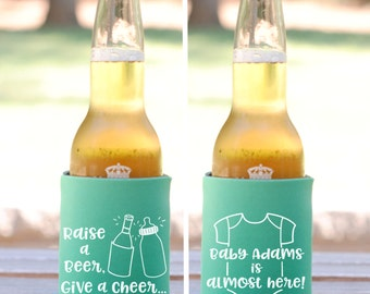 Baby Shower Favors - Raise a Beer Give a Cheer Personalized Can Coolers, Coed Gender Reveal Party Gifts, Beer Insulators, Stubby Holders