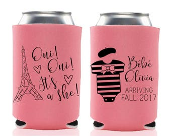 Parisian French Themed Baby Shower Favors - Baby Girl Shower Can Coolers, Coed Gender Reveal, Stubby Holders, Drink Coolies