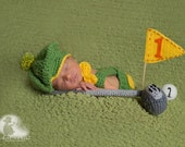 Newborn Golfer Set/ Baby Golf Set Green and Yellow/ Crochet Golf Club /Baby Golfer Prop/ Newborn Photo Prop/ Gift for Golfer/ Tam Hat