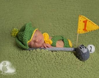 Newborn Golfer Set/ Baby Golf Set Green and Yellow/ Crochet Golf Club /Baby Golfer Prop/ Newborn Photo Prop/ Gift for Golfer/ Tam Hat