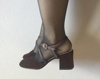 7 brown velvet strappy block heels 90s vintage rounded toe pumps shoes preppy satin straps seven womens formal goth indie hipster VEGAN