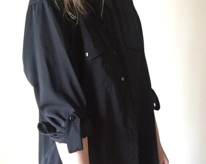 black button up oversized long 90s minimalist vintage womens slouchy unisex long sleeve shirt extra large one size OSFM XL L medium