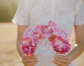 pink peony statement wedding flower crown // flower crown fascinator, spring racing flower crown, statement floral headpiece headband