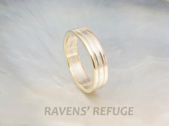 Tri Color Wedding Band Stacking Ring In Recycled Rose Gold