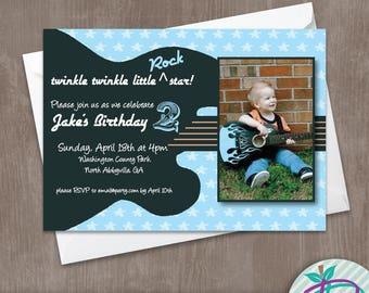 Guitar Invitation, Guitar Birthday Party Invitation, Guitar Invitation with Picture, Rock 'N Roll Printable Invite