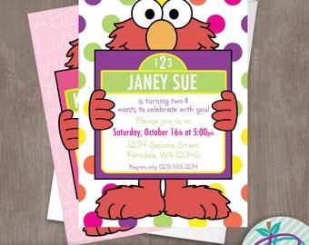 Elmo Invitation, Girls Elmo Invitation, Sesame Street Printable Invite