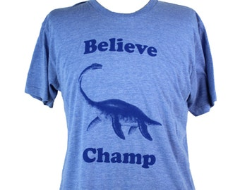 Believe Champ T-shirt, Men's / Unisex American Apparel Heather Blue Tri-Blend Graphic Tee