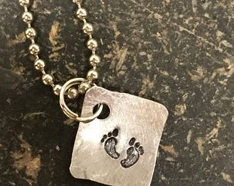 PRIORITY SHIPPING Tiny Hand Cut Metal Stamped Memorial Baby Loss Pendant Charm