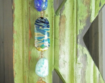 Artist Lampwork Glass, Lapis Lazuli, Bronze and Larimar  Pendant with Gold Filled Chain