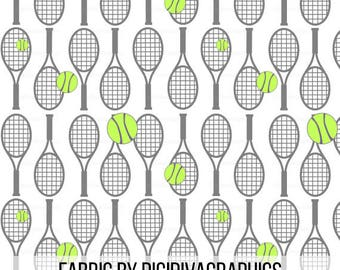 Tennis Racket Fabric By The Yard - Sports Tennis Ball Gray on White Print in Yard & Fat Quarter