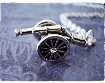 Silver Artillery Cannon Necklace - Silver Pewter Artillery Cannon Charm on a Delicate Silver Plated Cable Chain or Charm Only