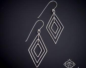 Geometric Jewelry – Geometric Earrings – Kinetic Jewelry – Fidget Jewelry – Handmade Sterling Silver Earrings – Geometric Earrings