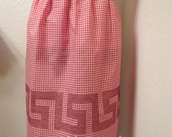 Gingham Cross Stitched Bistro Style Apron