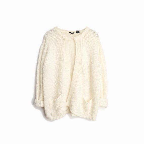 Vintage Ivory Boucle Sweater / Cream Boucle Cardigan Sweater - women's large/xl